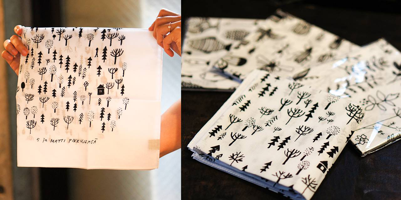 マッティ・ピックヤムサさんのイラストが可愛い、北欧風ハンカチ